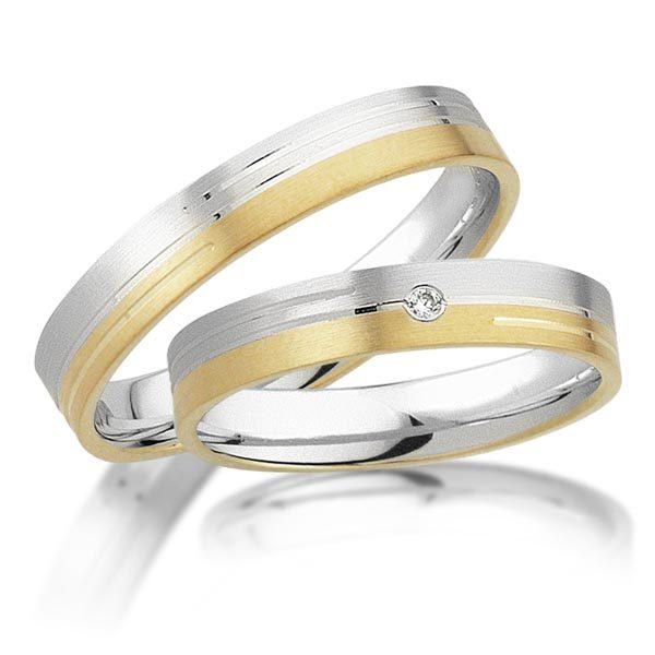 Wit/geelgouden trouwringen met 0.015 crt. – AD28