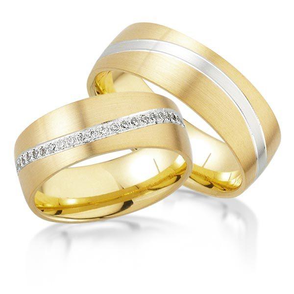 Wit/geelgouden trouwringen met 0.39 crt. – AD32